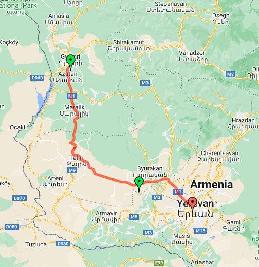 Gyumri Yerevan - Gyumri map