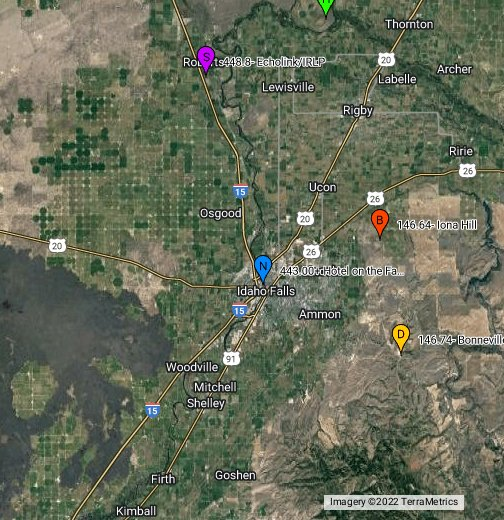 Idaho Repeaters - Google My Maps on aprs repeater map, people-mover map, ft harrison mt map, florida industry map, florida repeater map, coverage map, grand central highway map, ham radio map, radio repeater map, 2 meter repeater map,