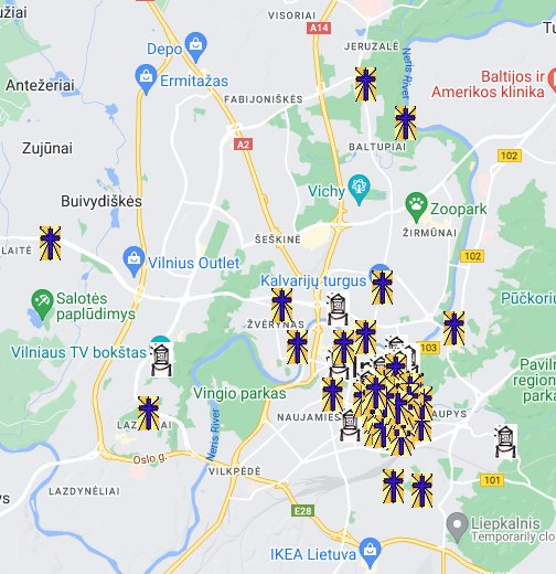 Vilnius Museums And Churches Map - Vilnius map