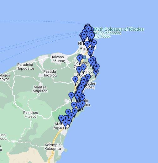 Rhodos Karte Faliraki.Rhodos Von Der Stadt Bis Afandou Google My Maps