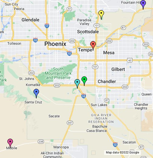 Map Of Arizona Casinos.Top Casinos Near Phoenix Arizona Google My Maps
