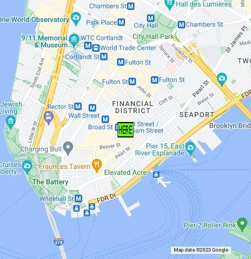 New York City Wall Street - New york city map google