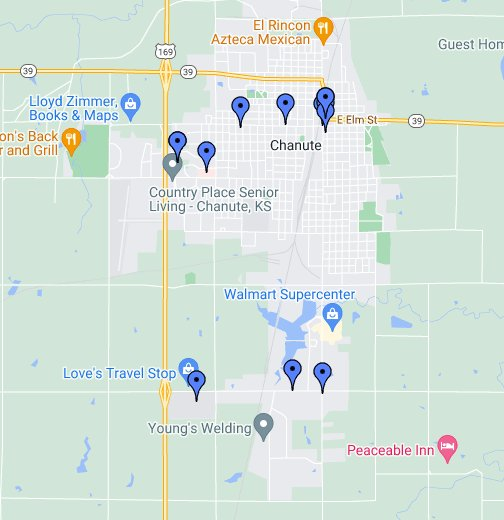 Chanute Kansas Map.Chanute Ks Google My Maps
