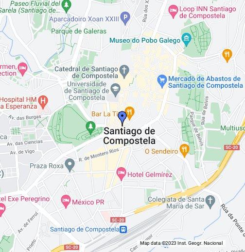 Santiago de Compostela, Spain - Google My Maps on malaga map, camino de santiago map, castellon de la plana map, santiago de chile map, santiago-chile airport terminal map, la coruna map, rio de janeiro map, arcos de la frontera map, mexico city map, bilbao map, madrid map, sanlucar de barrameda map, sierra de guadarrama map, santiago airport dominican republic map, calella de palafrugell map,