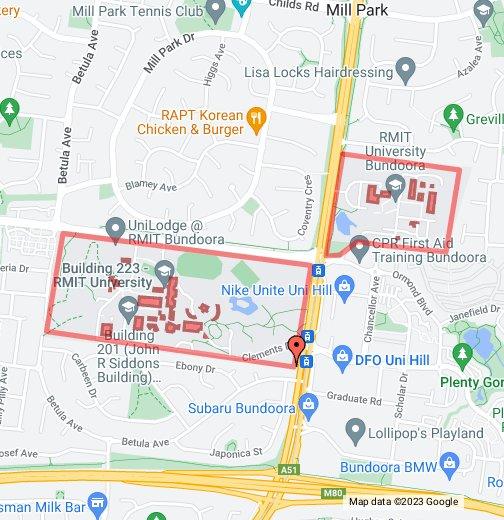 Rmit Bundoora Map RMIT University Bundoora Campus   Google My Maps