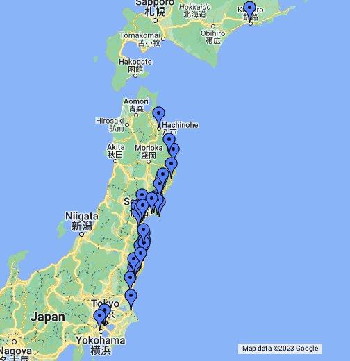 ostružnica mapa Satellite imagery of Japan Earthquake & Tsunami   Google My Maps ostružnica mapa