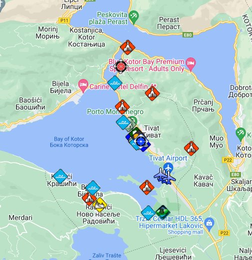 gugl mapa crne gore Tivat Montenegro Interactive map, Travel and tourist guide with  gugl mapa crne gore