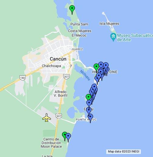 Cancun On Map StrayWeddings.  Cancun Hotel Map   Google My Maps