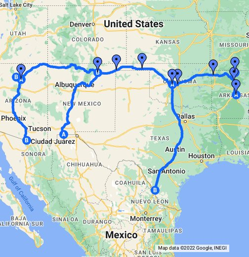 Thelma and Louise Route Map - Google My Maps