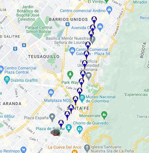 Transmilenio Ruta A Google My Maps