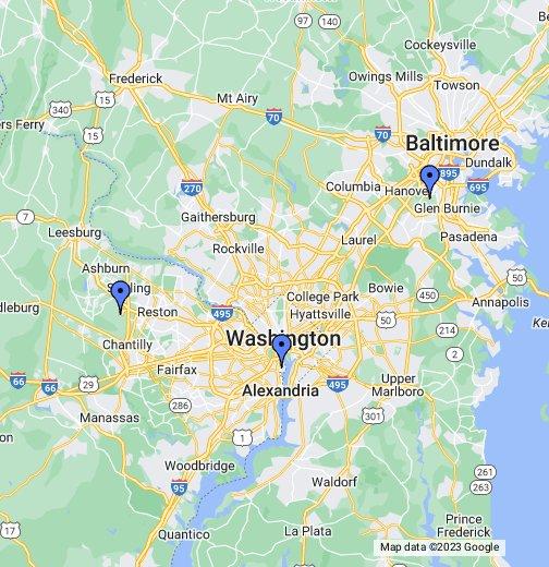 DC Airports - Washington dc airports map locations