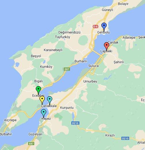 Dardanelles Ferries, Turkey - Google My Maps on