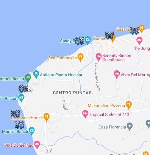 Puerto Rico Maps Rincon, Puerto Rico Surf Map   Google My Maps