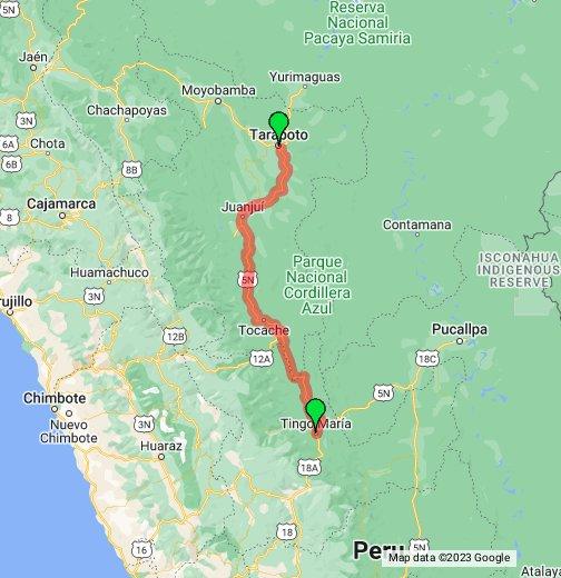 Peru - Tarapoto to Tingo Maria - Google My Maps
