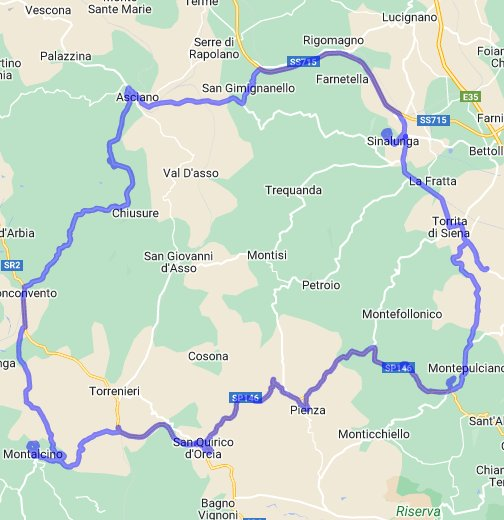 Driving Route through Val d\'Orcia - Google My Maps