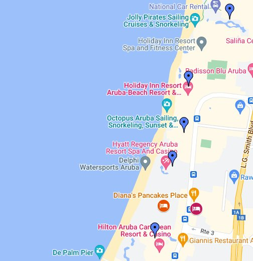 2017 Aruba Palm Beach Hotels - Google My Maps
