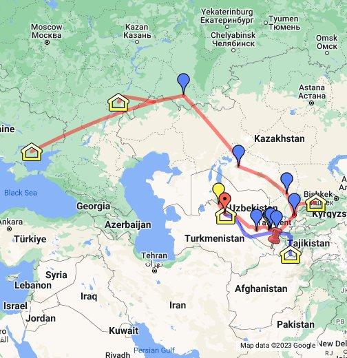 georgia asia map Great Mennonite Trek to Central Asia   Google My Maps