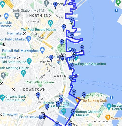 WalkBoston - Boston's Harborwalk - Google My Maps on google earth boston, google weather boston, topo map boston, walk score boston, print out map of boston, mapquest boston, map of tremont street boston, detailed map of downtown boston, google massachusetts, high street map of downtown boston, directions to boston,