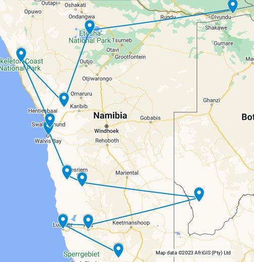 Nomadic Matt: Namibia Road Trip - Google My Maps