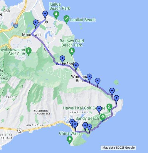 Oahu Hawaii Road Trip - Google My Maps