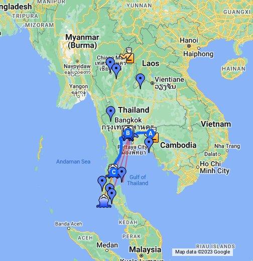 Touristische Karte für Thailand, Laos, Myanmar, Kambodscha ...