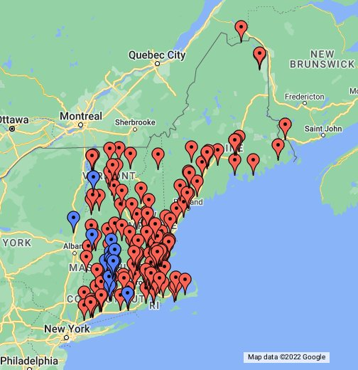 Colleges and Universities of New England - Google My Maps