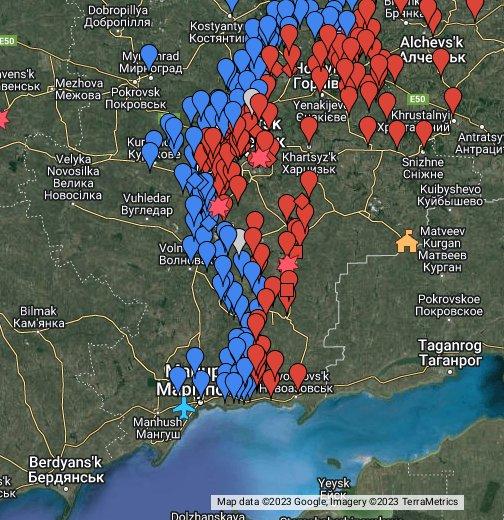 Overview Of Front Lines In Ukraine - Alchevsk map