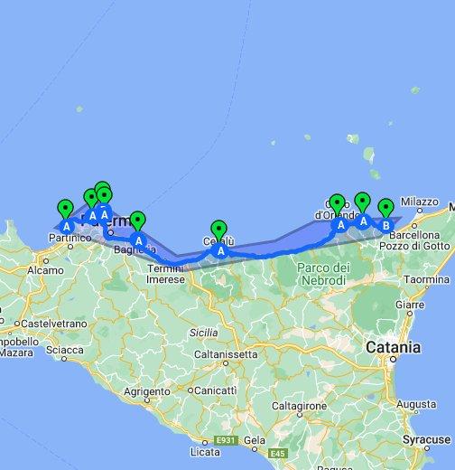Cartina Sicilia Tindari.Spiagge Costa Tirrenica Google My Maps