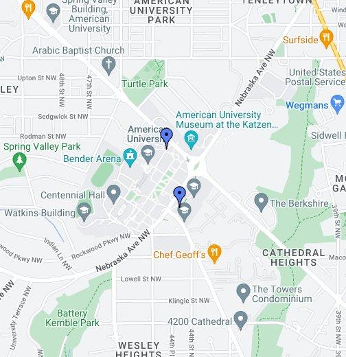 American University Washington DC - American university map