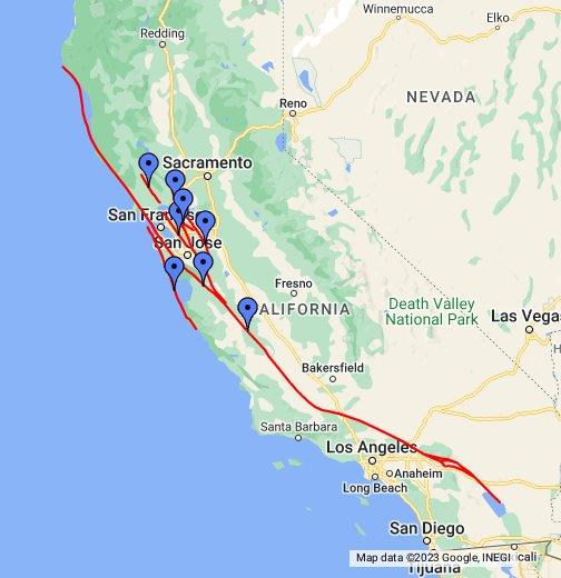 San Andreas & Bay Areas Faults - Google My Maps