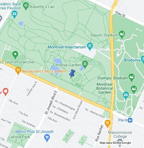 Montreal Botanical Gardens Google My Maps