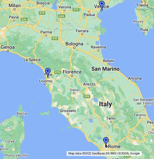 Google Map Of Italy Rome Pisa Venice, Italy   Google My Maps