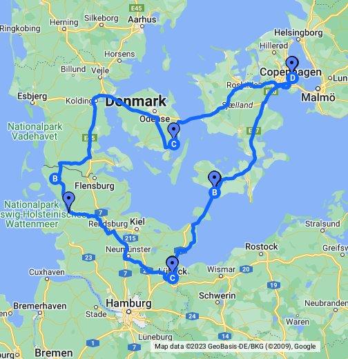 kart over danmark LittRarTur Nord Tyskland og Danmark – Google My Maps