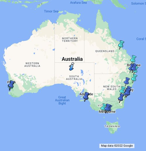 australian universities google my maps