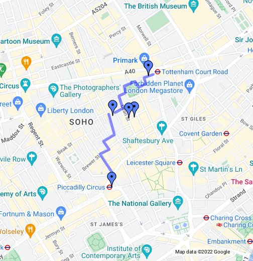 Google London Map.Soho London Walking Tour Google My Maps