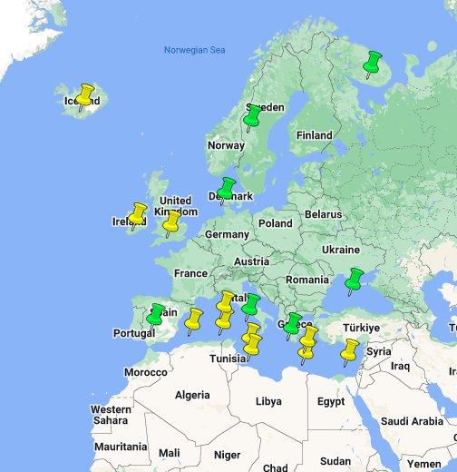 Islas De Europa Mapa.Islas Y Peninsulas De Europa Google My Maps