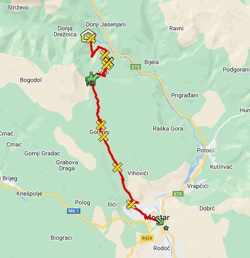 mapa crne gore bijela Čabulja: Drežnica   Mostar   Google My Maps mapa crne gore bijela