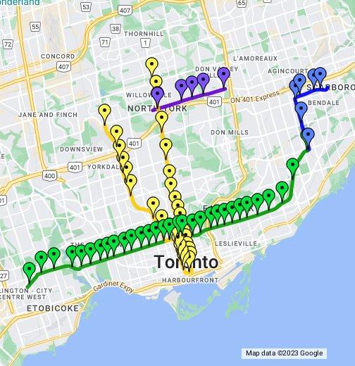 Toronto Subway Rt Google My Maps