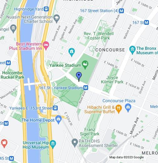 Yankee Stadium - Google My Maps on la dodgers map, phoenix municipal stadium map, citi field map, orlando city stadium map, ny yankees map, wrigley field map, bronx map, tdecu stadium map, avaya stadium map, o.co coliseum map, nrg stadium map, lockhart stadium map, target field map, braves field map, comerica park map, yankees field map, harlem map, times square map, new york city map, fenway park map,