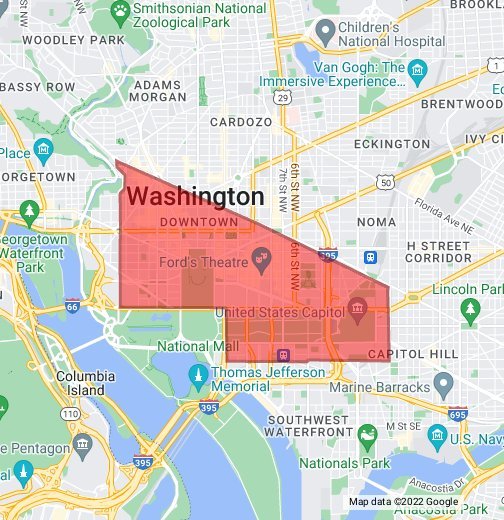georgetown dc map DC Central Business District   Google My Maps