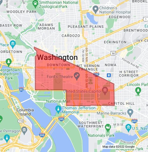 DC Central Business District - Google My Maps on