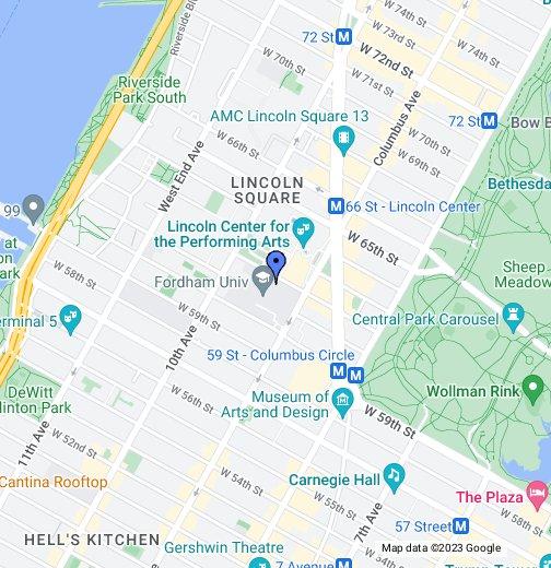 Campus Map Fordham.Fordham University Lincoln Center Campus Google My Maps