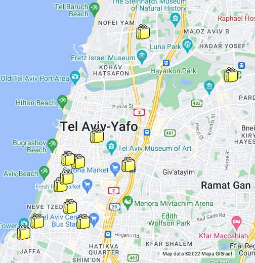 Tel Aviv Malls - Ramat gan map