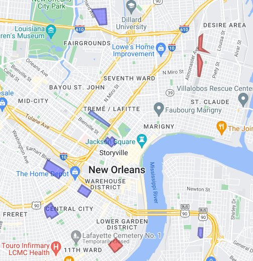 New Orleans Housing Project Locations Google My Maps