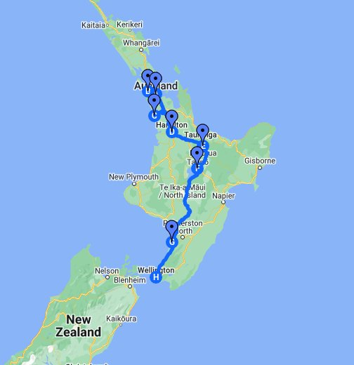 North Island New Zealand Map New Zealand's North Island Road Trip   Google My Maps