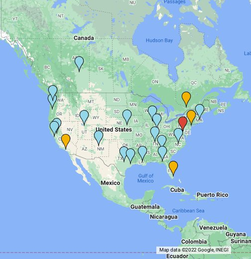 Mapa Oficinas USA - Usa mapa
