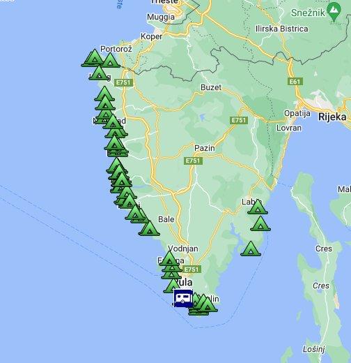 Karte Istrien Kroatien.Camping Istrien Campsites In Istria Google My Maps