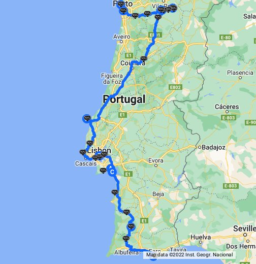 Portugal Road Tour Faro To Porto - Portugal motorway map