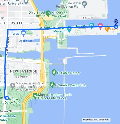 Walking Directions From Millenium Park To Navy Pier Google My Maps