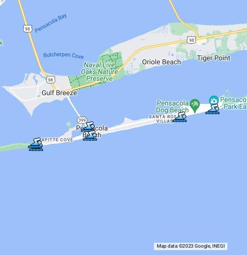 Pensacola Beach Map Public Beaches on Pensacola Beach   Google My Maps